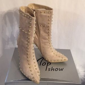 Shoes - CREAM POINTY STUDDED MID CALF BOOTIES FAUX SUEDE
